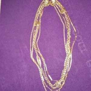 Vintage 5 Strands Gold Tone Chain Necklace